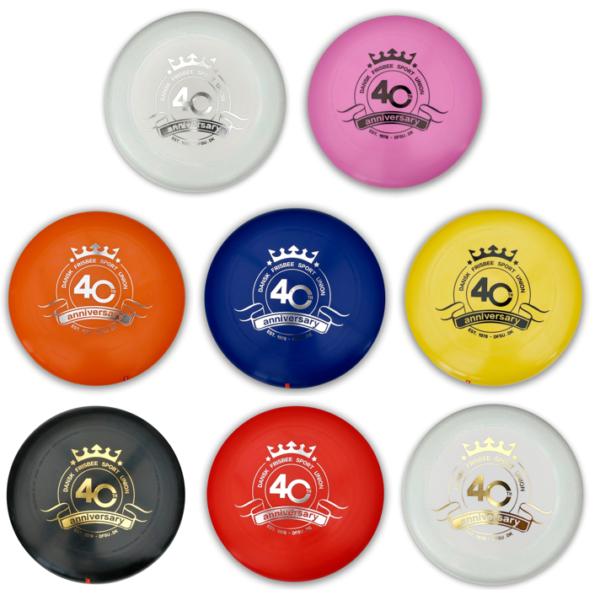DFSUs jubilæums disc i 8 forskellige farver